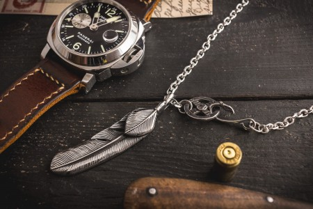 Braith - Stainless Steel Men's Necklace with antiqued Eagle Feather Pendant
