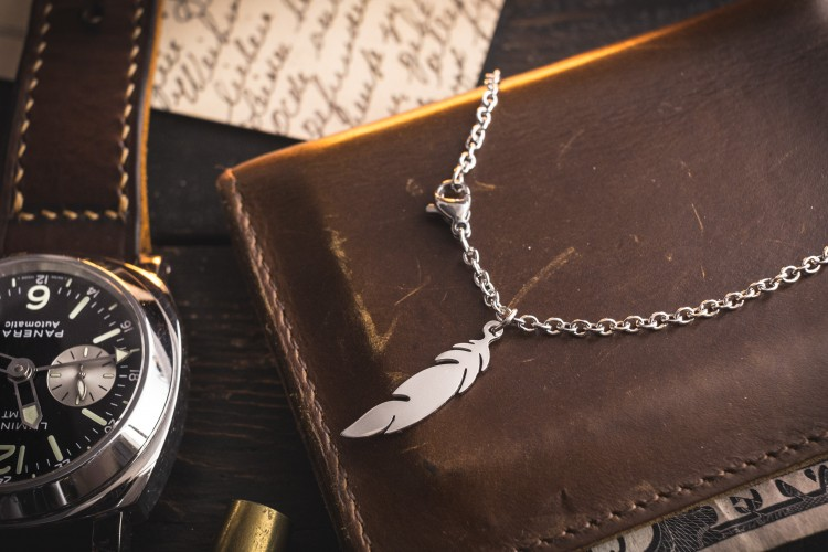 Nafil - Small Minimalist Stainless Steel Men's Necklace with a Feather Pendant from STRAPSANDBRACELETS
