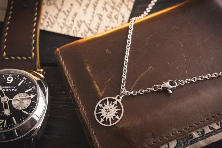 Jaswinder - Small Stainless Steel Men's Necklace with a Map Compass Pendant