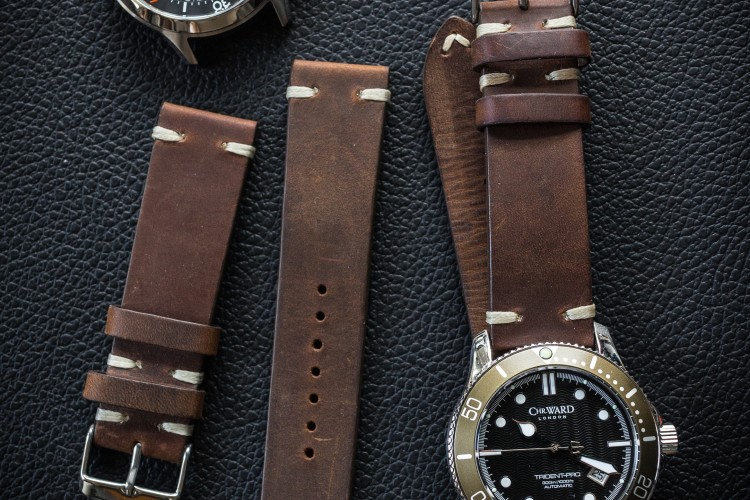 Vintage Style Dark Brown Leather Strap For Watches (20 & 22mm), Two Stitch Watch Strap from STRAPSANDBRACELETS