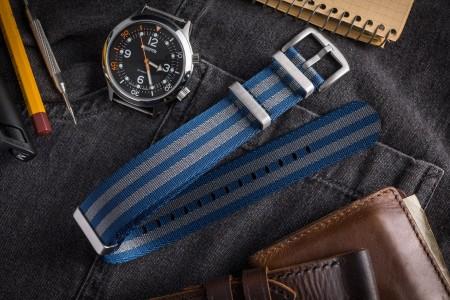 Dark Steel Blue and Gray Seat Belt Slip Through Nato Watch Strap (20 & 22mm)