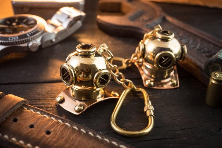 Brass Mini Nautical Diving Helmet Keychain, U.S. Navy Mark V Helmet from STRAPSANDBRACELETS