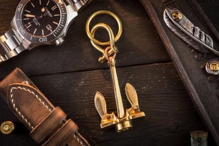 Brass Mini Nautical Anchor Keychain
