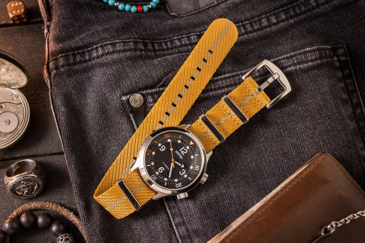 Golden Yellow and Beige Premium Twill Slip Through Nato Watch Strap (20 & 22mm) from STRAPSANDBRACELETS