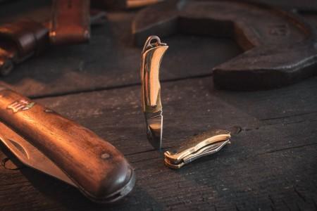 Sharp Mini Folding Pocket Knife Keychain with Brass Finish & Steel Blade