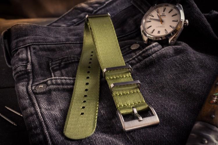 Army Green Premium Silky Seat Belt Slip Through Nato Watch Strap (20 & 22mm) from STRAPSANDBRACELETS