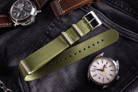 Army Green Premium Silky Seat Belt Slip Through Nato Watch Strap (20 & 22mm)