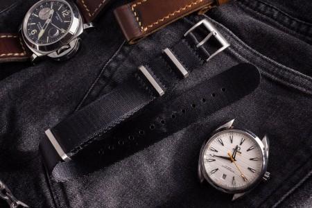 Black Premium Silky Seat Belt Slip Through Nato Watch Strap (20 & 22mm)