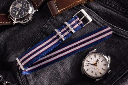 Captain America - Blue, Red, Silver Premium Seat Belt Slip Through Nato Watch Strap (20 & 22mm)
