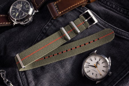 Army Green and Red Elastic Material Slip Through Nato Watch Strap (20 & 22mm)