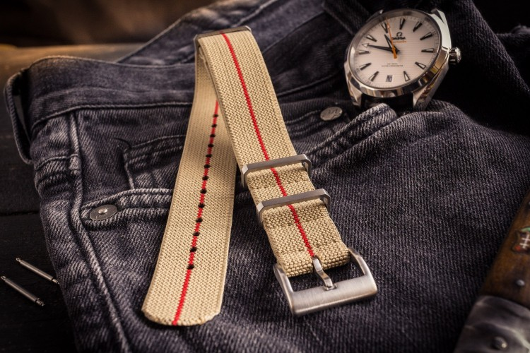 Beige and Red Elastic Material Slip Through Nato Watch Strap (20 & 22mm) from STRAPSANDBRACELETS