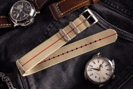 Beige and Red Elastic Material Slip Through Nato Watch Strap (20 & 22mm)