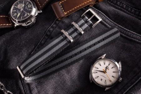 Bond - Black and Gray Premium Seat Belt Slip Through Nato Watch Strap (20 & 22mm)