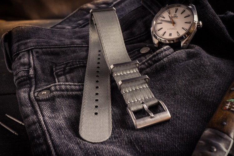 Gray Premium Silky Seat Belt Slip Through Nato Watch Strap (20 & 22mm) from STRAPSANDBRACELETS
