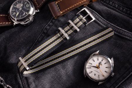 New Bond - Black, Beige and Gray Premium Seat Belt Slip Through Nato Watch Strap (20 & 22mm)