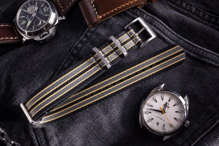 New Bond - Black, Beige and Gray Premium Seat Belt Slip Through Nato Watch Strap (20 & 22mm) from STRAPSANDBRACELETS