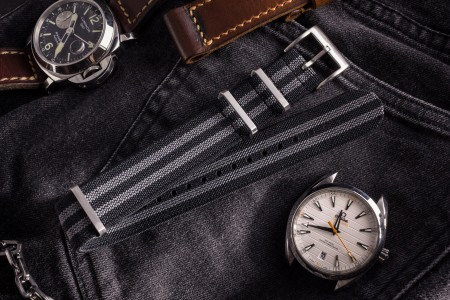 Black and Gray Elastic Material Slip Through Nato Watch Strap (20 & 22mm)