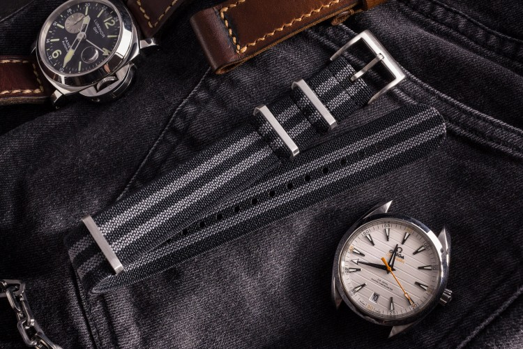 Black and Gray Elastic Material Slip Through Nato Watch Strap (20 & 22mm) from STRAPSANDBRACELETS
