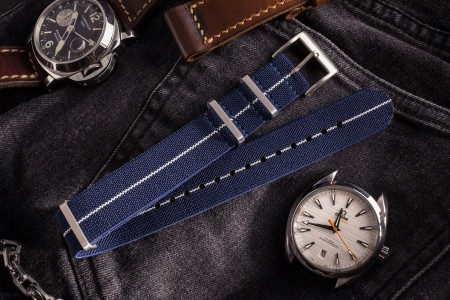Navy Blue and White Elastic Material Slip Through Nato Watch Strap (20 & 22mm)