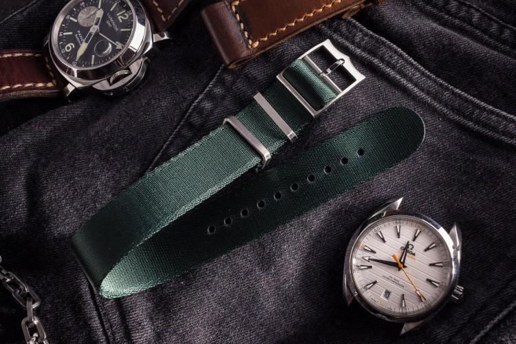 Night Green Adjustable Silky Seat Belt Fabric Single Pass Slip Through Watch Strap  (20 & 22mm) from STRAPSANDBRACELETS