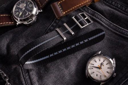 Black Adjustable Single Pass Slip Through Watch Strap with Embossed Grey Stripe (20 & 22mm)