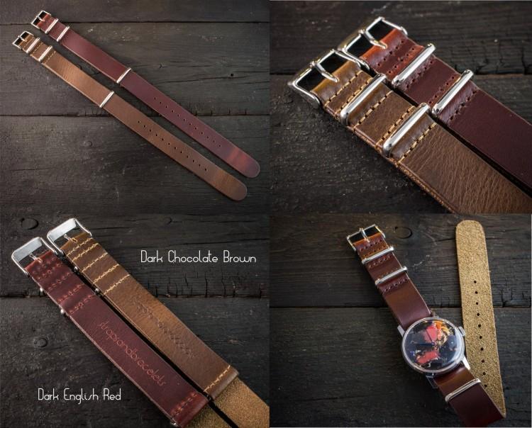 Dark Chocolate Brown Genuine Leather Slip Through Nato Watch Strap