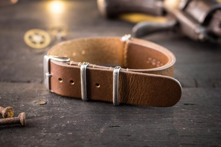 Dark Chocolate Brown Genuine Leather Slip Through Nato Watch Strap (18mm) from STRAPSANDBRACELETS