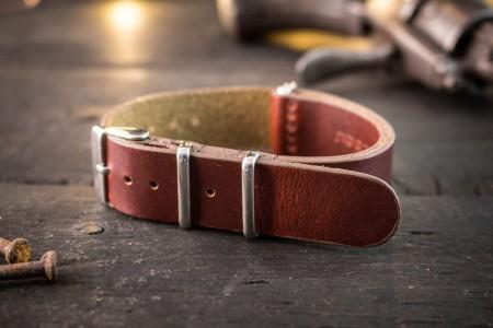 Dark English Red Genuine Leather Slip Through Nato Watch Strap (18 & 20mm)