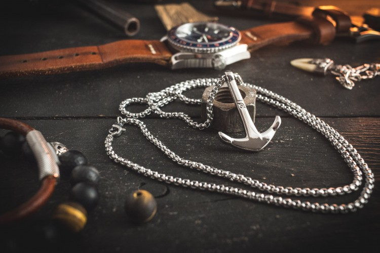 Saloeus - Stainless Steel Men's Necklace With Anchor Pendant