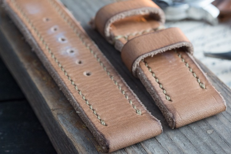 Disctressed Handmade 24mm Tan Brown Oiled Leather Strap 129/85mm