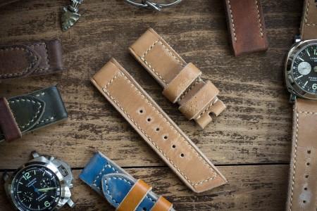 Distressed Handmade 24/24mm Light Chestnut Brown Leather Watch Strap With Beige Stitching