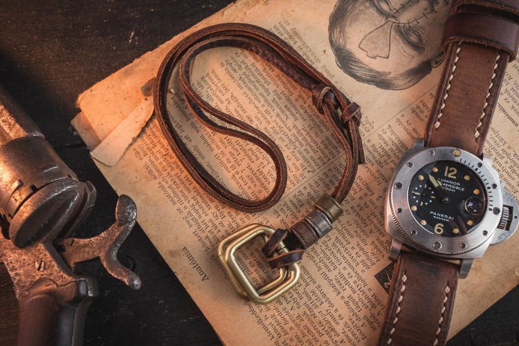 Jonuberius - Brown Genuine Leather Men's Necklace With Brass Rectangle Pendants And Rings