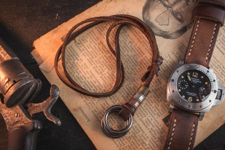 Fortiton - Brown Genuine Leather Men's Necklace With Gunmetal Gray Ring Pendants And Rings