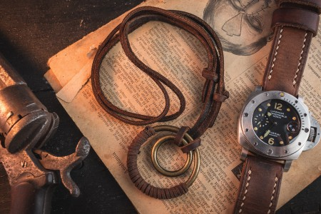 Rimeric - Brown Genuine Leather Men's Necklace With Brass Ring Pendants