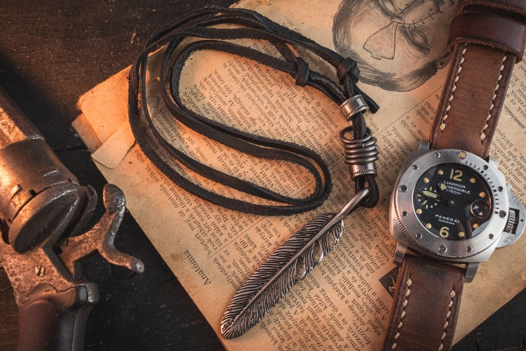 Lucagus - Black Genuine Leather Men's Necklace With Large Feather And Ring Pendants