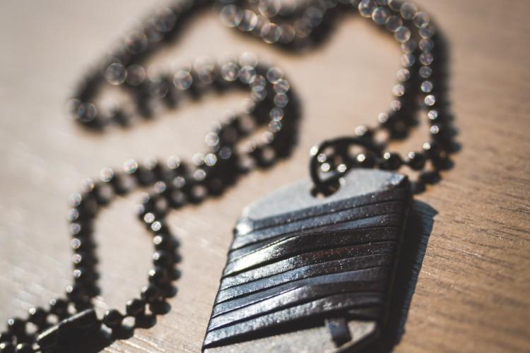 Gunmetal Gray Men's Dog Tag Necklace