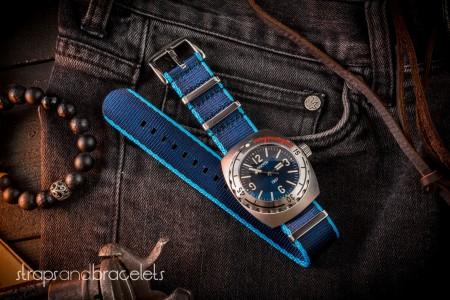 Dark and Light Blue Premium Seat Belt Slip Through Nato Watch Strap (20 & 22mm)