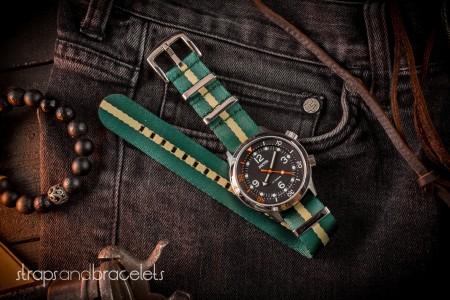 Green And Beige Premium Seat Belt Slip Through Nato Watch Strap (20 & 22mm)