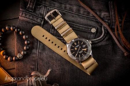 Khaki Premium Seat Belt Slip Through Nato Watch Strap (20 & 22mm)