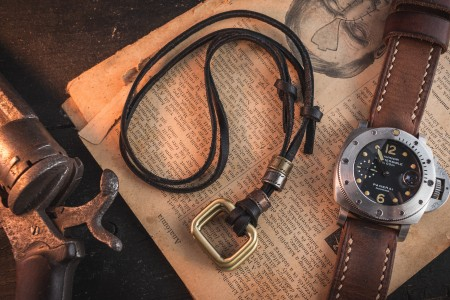 Ilenick - Black Genuine Leather Men's Necklace With Brass Rectangle Pendants And Rings