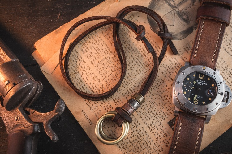 Hereroy - Brown Genuine Leather Men's Necklace With Brass Ring Pendants And Rings