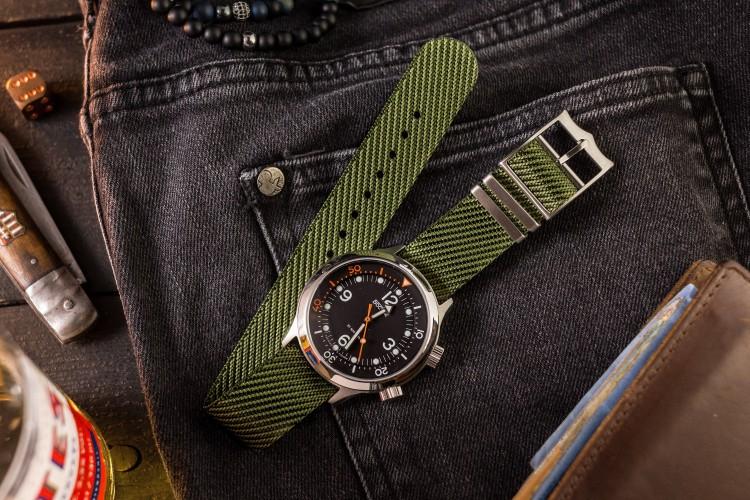 Army Green Adjustable Single Pass Slip Through Watch Strap (20 & 22mm) from STRAPSANDBRACELETS