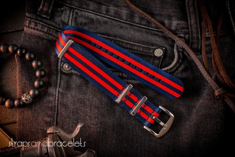 Dark Blue And Red Premium Seat Belt Slip Thru Nato Watch Strap