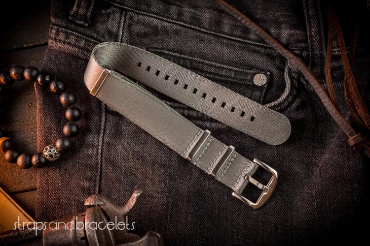 Gray premium Seat Belt Slip Thru Nato Watch Strap