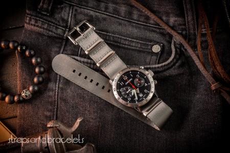 Gray premium Seat Belt Slip Through Nato Watch Strap (20 & 22mm)