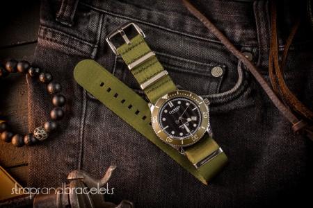 Olive Green Premium Seat Belt Slip Through Nato Watch Strap (20 & 22mm)
