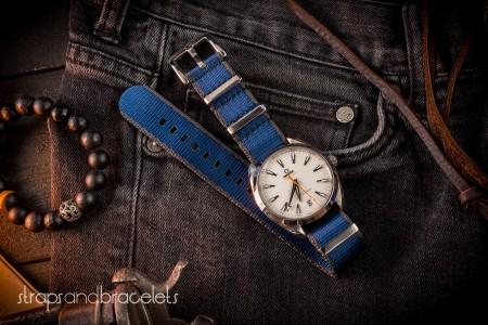 Dark Blue And Light Gray Premium Seat Belt Slip Through Nato Watch Strap (20 & 22mm)