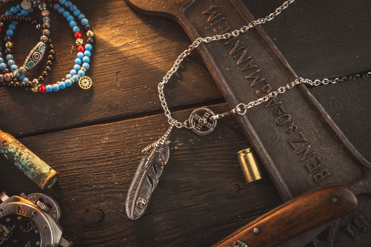 Razele - Stainless Steel Men's Necklace With Antiqued Eagle Feather Pendant