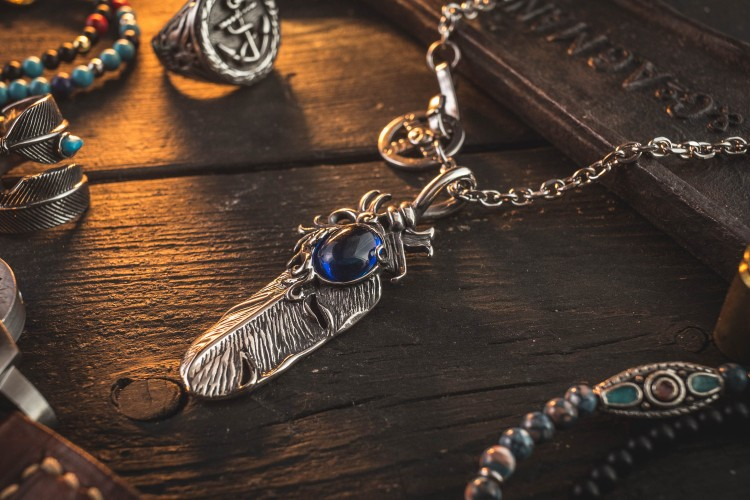 Relir - Stainless Steel Men's Necklace With Antiqued Feather Pendant