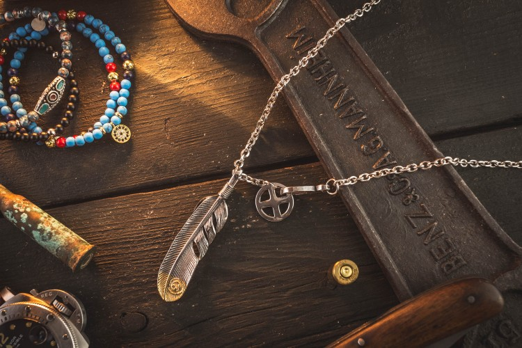 Sosber - Stainless Steel Men's Necklace With Antiqued Eagle Feather Pendant